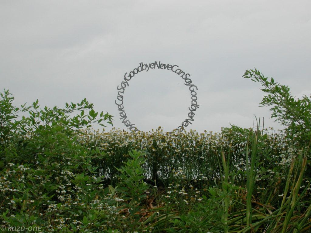 野外展示 : Heven's Door... / Material / Iron /600mm 土手の上に設置、会場全体を見下ろす位置に置きたかった。 この時期は土手に花が咲き乱れて作品を包み込む。